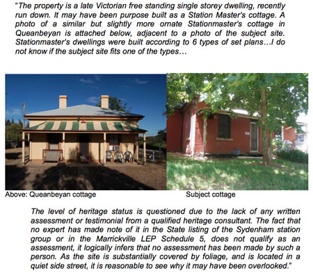 This is from the Marrickville Council's Development & Assessment Meeting papers & shows the Queenbeyan ex-Station Master's cottage & the one in Sydenham