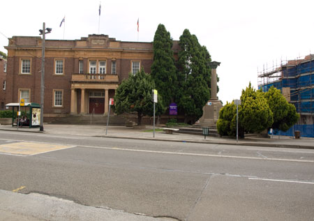 Marrickville Town Hall. Photo taken 2011. The units on the right have been completed.