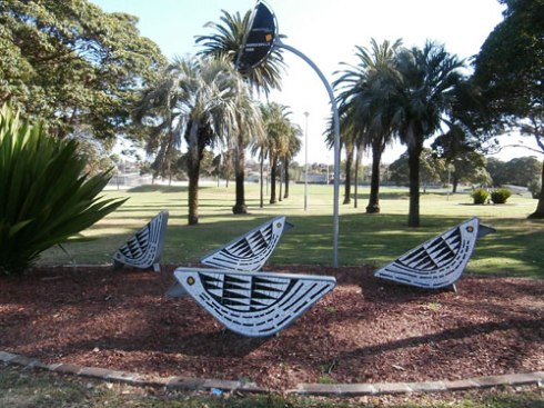 Historic Marrickville Park with the fabulous Magpies art installation.