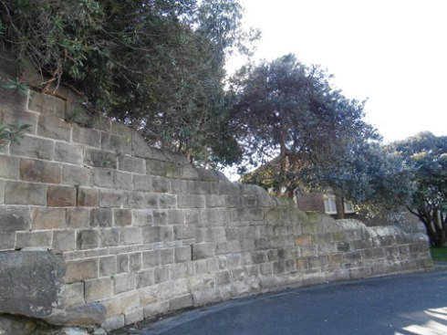 The historic sandstone wall at Ruby Street Marrickville.