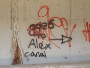 Graffiti signage showing the direction of the Alexandra Canal for those who are lost.