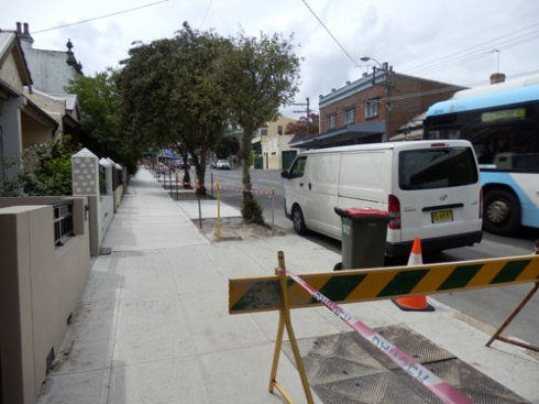 One section of new footpath & new verge gardens along Enmore Road Enmore.