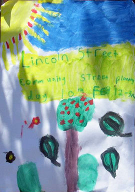 Lovely art work advertising the community planting event. It's great to get kids involved in gardening & the environment.
