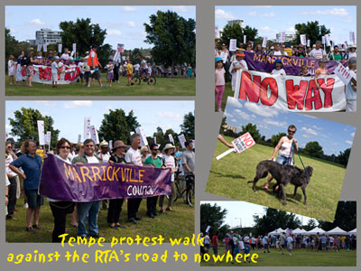 Photo from February 2010 where all Marrickville Coucillors carried the Marrickvilel Council banner & headed the march against the last attempt to get a Motorway over Tempe Wetlands & Tempe Reserve.