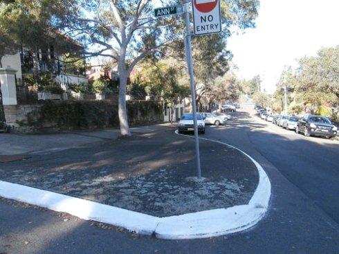 Bitumen-covered large traffic island - an unattractive heat sink in Arthur Street Marrickville