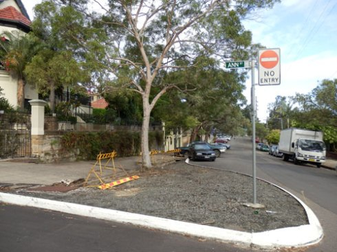 After depaving.  The tree would have enjoyed all this rain.  You can see how visible this traffic island is to the section of Arthur Street to Illawarra Road.