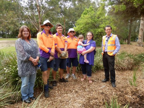 From left to right:  Kim, Marrickville Council workers, Jody & Emma & Marrickville Council's Tree Manager.