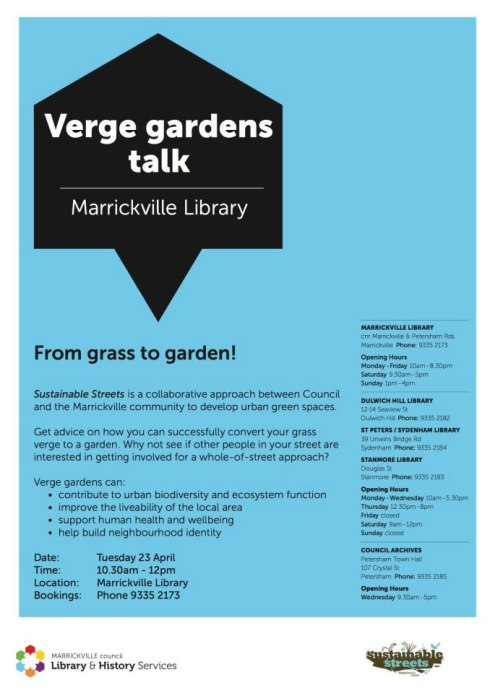 Free workshop on converting grass to a verge garden happening at Marrickville Library.  Click to enlarge.