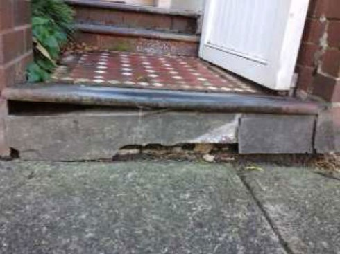 Showing the damage to the step.  Photo by Marrickville Council with thanks.