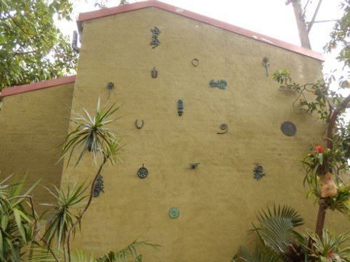 One of the terrace walls was made into an outdoor gallery space.  I loved this idea.