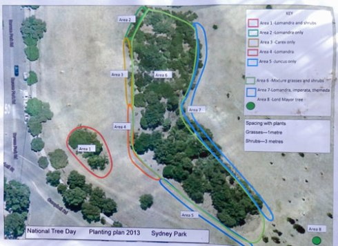 A map of today's planting area in Sydney Park.  As you can see it was quite a large area.