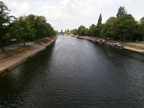 The River Ouse from the Millennium Bridge at Rowntree Park York.