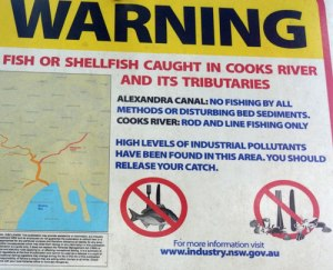Close-up of sign warning to not eat fish or shellfish from the Cooks River