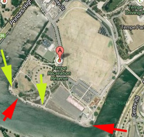 The yellow arrows show the location of the TAngler Bins.  The red arrow on the left is the popular fishing spot at the kiosk. The red arrow on the right shows the eastern point of Tempe Reserve where most fishing is done.