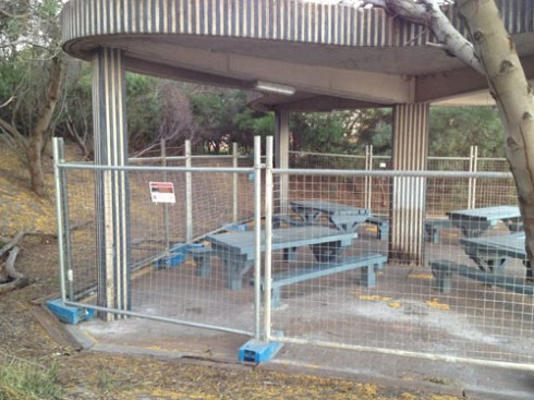 The fencing encloses the whole kiosk area.  Photo by Marrickville Council & used with thanks.