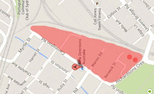 The red shows the boundaries as far as I understand.  The two red circles indicate the two 23-storey towers.