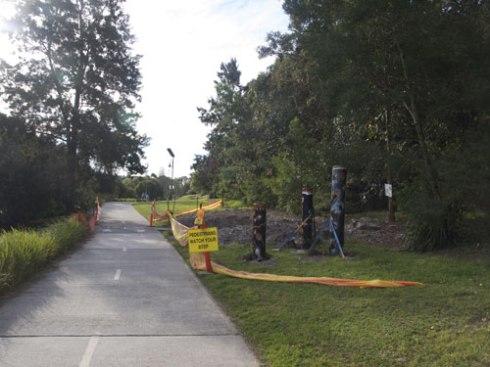Story Poles opposite 'Marrickville Beach' on the Cooks River in Marrickville