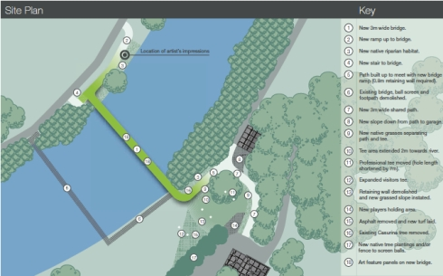 Plans showing the location of the current bridge & the new bridge between Beaman Park & Marrickville Golf Club.