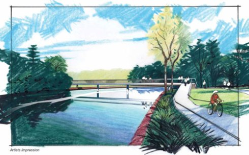 Option C design for the Beaman Park Footbridge.  I like Option C as this will allow unrestricted view to watch the river.  Option A only allows your head to peak over the bridge structure.