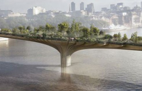 Close up of screenshot of Garden Bridge plans - raken from Daily Mail.