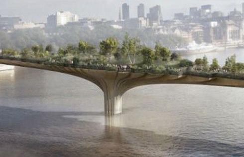 Close up of screenshot of Garden Bridge plans - raken from Daily Mail.