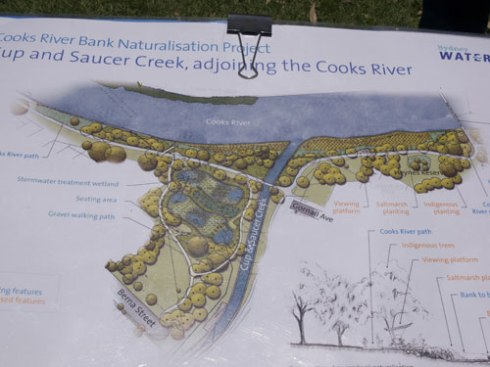 Plan of the naturalisation works at Cup and Saucer Creek.  If the end result looks anything like the Cup and Saucer Creek Wetland, this will be a beautiful place indeed.