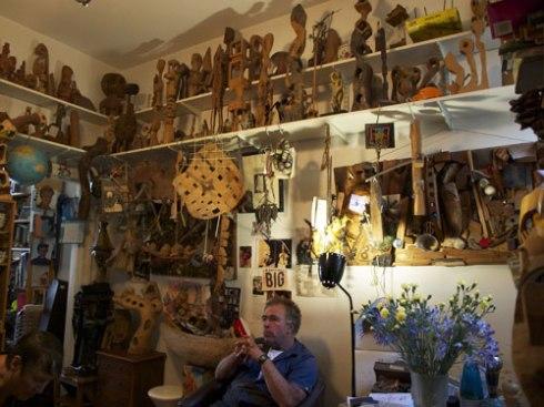 Glebe sculptor Hilik Mirankar in his loungeroom.