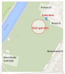 Map to help find the rain garden.  Street parking is available.