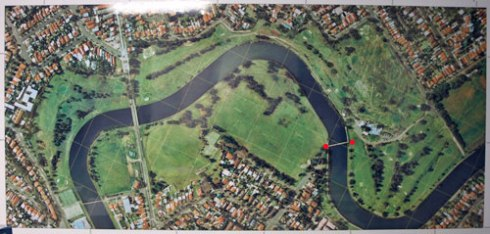 Aerial photograph of the Cooks River seen at Marrickville Golf Club.  The two red dots mark the location of the Beaman Park Footbridge.