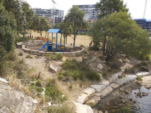 Children's playground next to the riverbank.  The barbecue is close & out of view on the left.