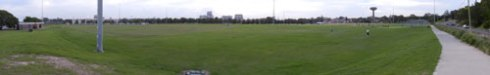 Panorama of Tempe Reserve playing fields