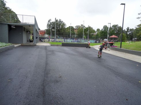 The resurfaced car park makes a great place to ride when it is empty