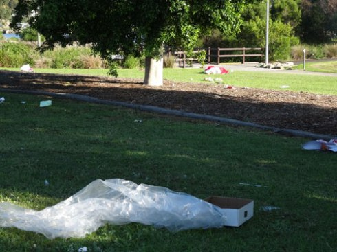 Plastic sheet on its way to the Cooks River 100-metres away