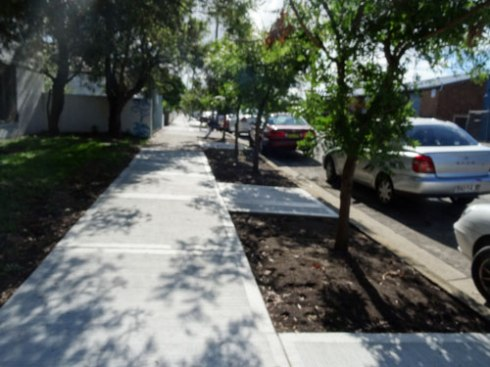 The potential for this section with soil on both sides of the footpath is great.