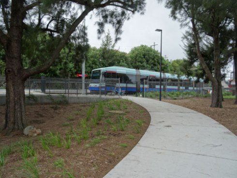View of the tram from Jack Shannahan Park