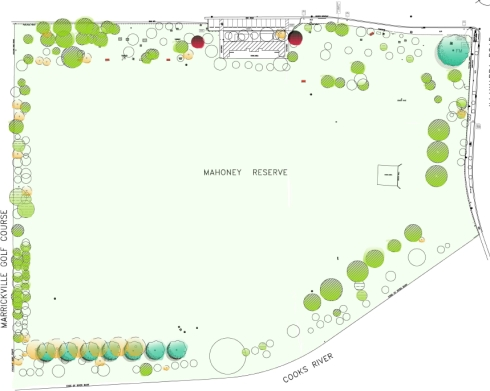 Marrickville Council's map of tree removal & other works at Mahoney Reserve.  Click for a larger image.