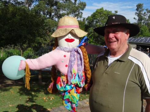 Bringing in one of the scarecrows at the end of the working bee.