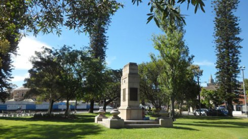 High Cross Park - set to become the Randwick interchange.  The near-century old Cook pines are to be removed, along with all of the surrounding trees, except for three trees  nearest to the cenotaph.   Photo by Rickie-Lee McLaurin-Smith used with thanks.