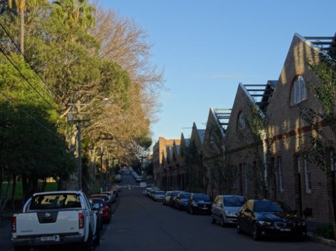 The original facade in Camperdown has been retained.  The trees on the left are in Camperdown Park.