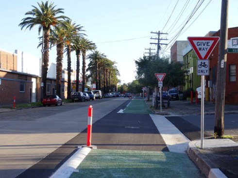 The brand new Carrington Road cycleway in Marrickville South.