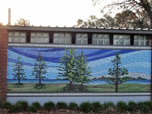 Another mosaic, again showing the iconic trees in this park. This one depicts daytime.