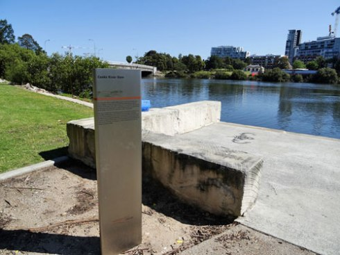 Historic sign at the site of the Cooks River Dam in Kendrrick Park Tempe
