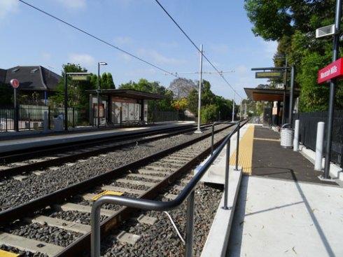 Looking at the Waratah Mills Light Rail Station