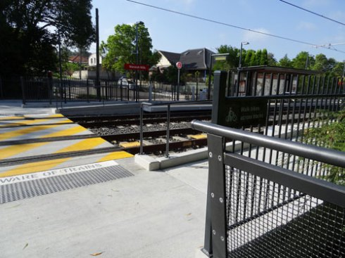 Waratah Mills Light Rail Station. You can see some of the streetscape work in Weston Street.