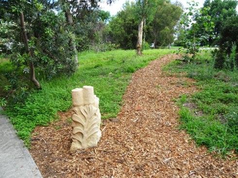 The banksia sculpture in the Garden.