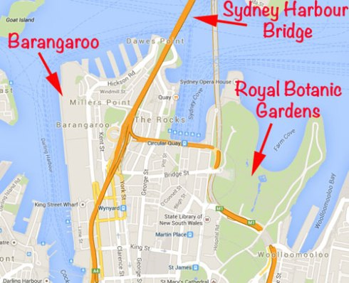 Google map of Barangaroo & other iconic sites nearby.