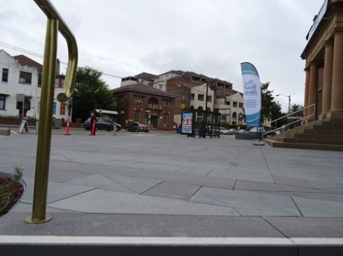 A long view of the Marrickville Town Hall forecourt.  Find the tree.