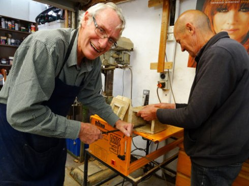 Stuart & another Men's Shed member working on a nesting box.