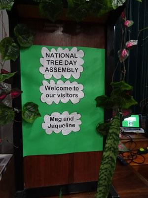 The sign on the lectern.   The school went to so much trouble to make us feel welcome.  It was appreciated.