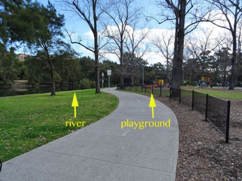 Showing the location of the playground and the river